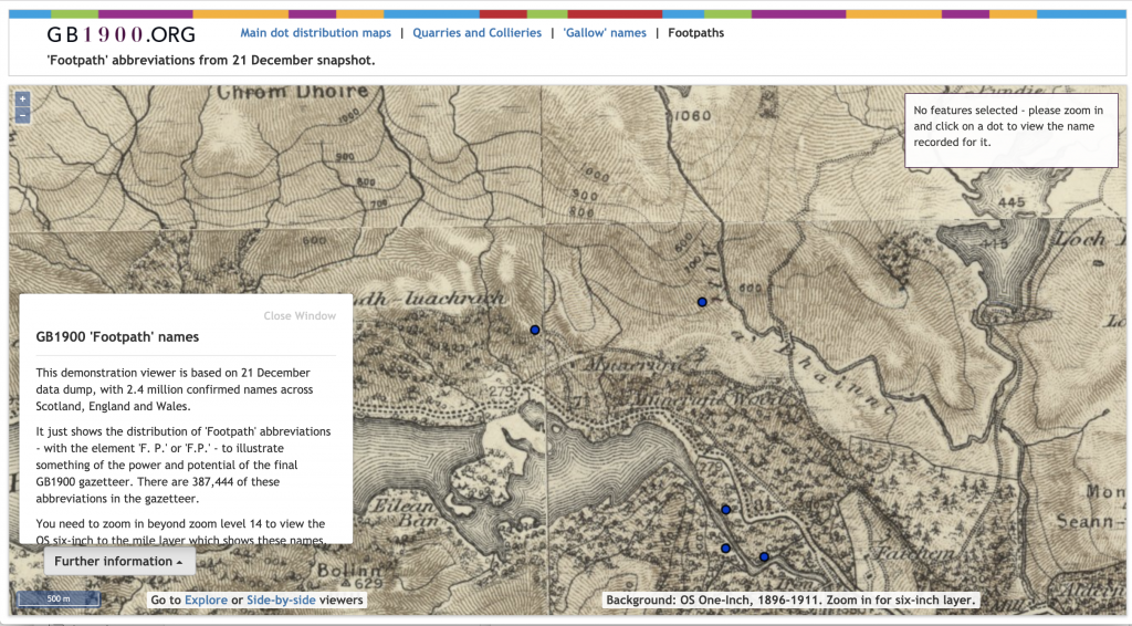 The GB1900 website showing a view of an OS map containing the tag 'footpath'.