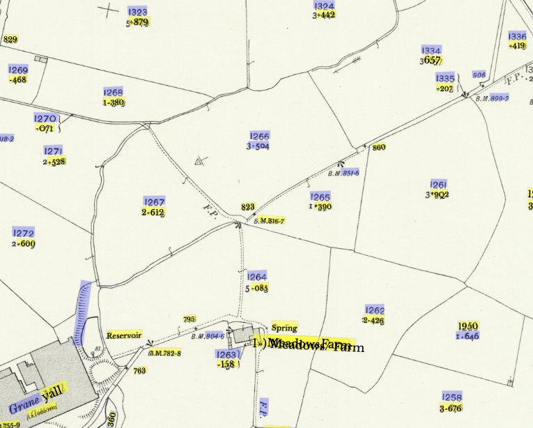 Screenshot of map with coloured overlays showing field numbers detected as text.