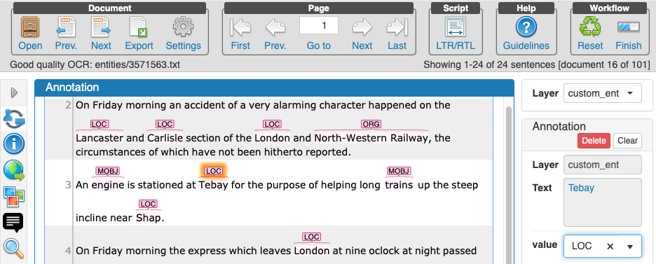Screenshot of the Inception annotation tool with annotation labels for location entities in a 19th Century newspaper article