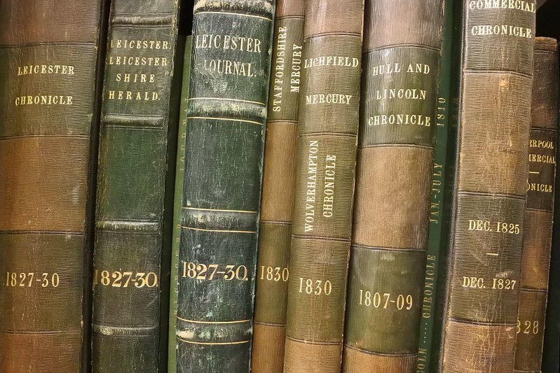 Photo of Hardbound volumes of newspapers in the British Library collection